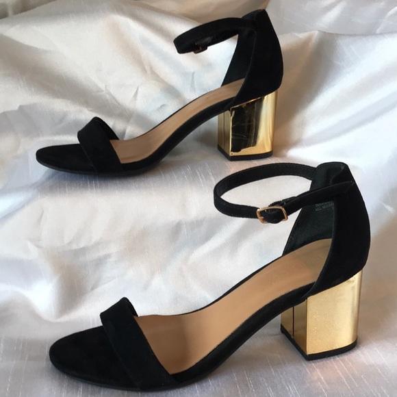 Sandals Gold Block Heels | Poshmark